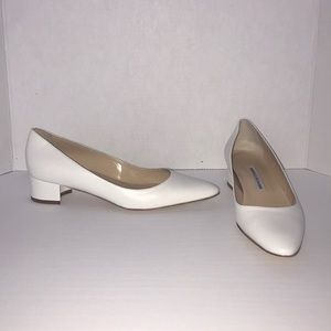 Manolo Blahnik White Vitello Bianco Block Heels